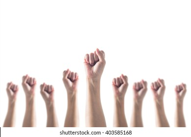 Empowering women power, human rights and labor day concept with strong fist hands isolated on white background (clipping path)