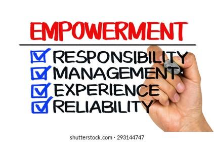 empowerment concept: responsibility management experience reliability