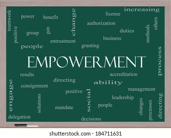 Empowerment Word Cloud Concept on a Blackboard with great terms such as granting, business, duties and more.
