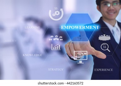 EMPOWERMENTconcept presented by  businessman touching on  virtual  screen