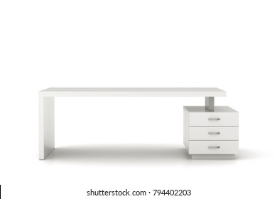Emprty white office desk workspace isolated. Include clipping path. 3d illustration.