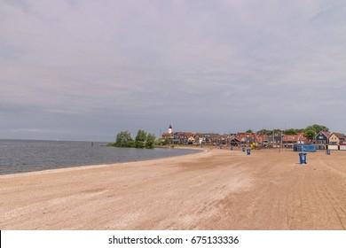Empte beach alongside the lake ijsselmeer of an summer Morning, Urk Netherlands