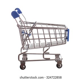 Empti metal classic shopping cart over white - Stock image