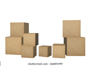 Empty 3D Cardboard boxes