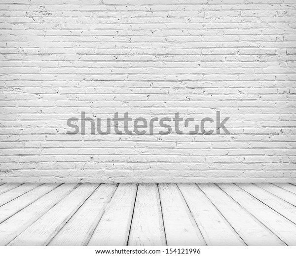 Empty abandoned Interior, vintage background of brick stone wall and wooden floor