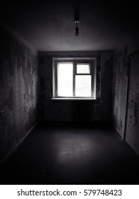 Empty abandoned room. Haunted house