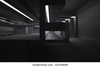Empty abstract concrete room interior. 3D illustration. 3D rendering