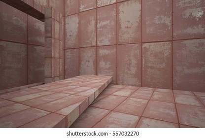 Empty abstract room interior of sheets rusted metal. Architectural background. 3D illustration and rendering