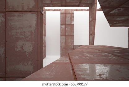 Empty abstract room interior of sheets rusted metal and white glossy floor. Architectural background. 3D illustration and rendering