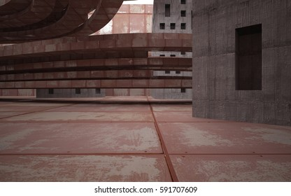Empty abstract room interior of sheets rusted metal and brown concrete. Architectural background. 3D illustration and rendering