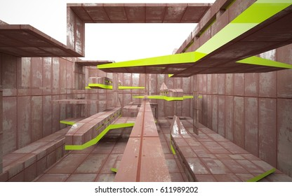 empty abstract room interior of sheets rusted metal and green glossy lines. Architectural background. 3D illustration and rendering