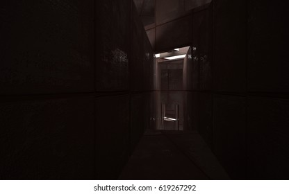 Empty abstract room interior of sheets rusted metal . Architectural background. 3D illustration and rendering