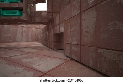 empty abstract room interior of sheets rusted metal with glossy colored objects. Architectural background. 3D illustration and rendering