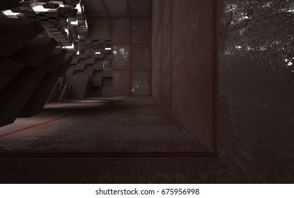 Empty abstract room interior of sheets rusted metal and concrete. Architectural background. Night view of the illuminated. 3D illustration and rendering
