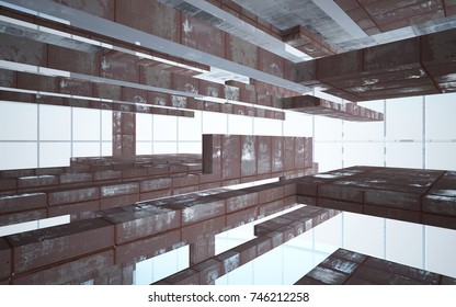Empty abstract room interior of sheets rusted metal and beige concrete. Architectural background. 3D illustration and rendering