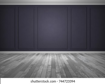 Empty abstract room with old floor and moldings on the wall. 3D Render