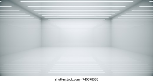 Empty abstract white box room interior. Copy space. 3D Rendering