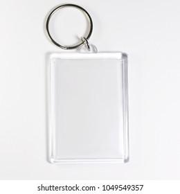 Empty acrylic keychain (Template). White background