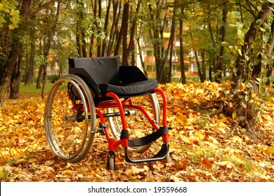 Empty active wheelchair in the park in fall time