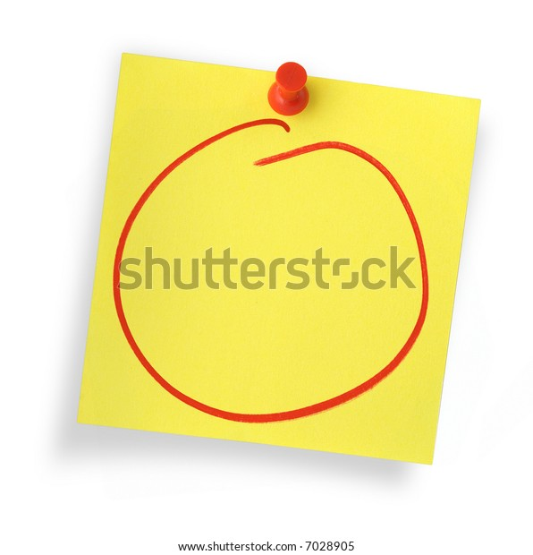 empty adhesive note against white background, gentle shadow underneath