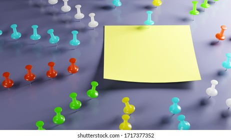 An empty adhesive note on a bulletinboard surrounded by differently colored thumbtacks / pins arranged like rays. Concept for planned approach