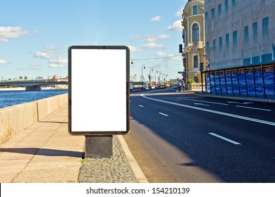Empty Advertising Billboard On The Street