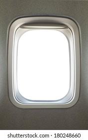 Empty airplane glass window