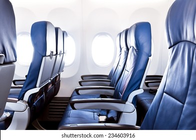 Elegant Empty Airplane Seats In The Cabin