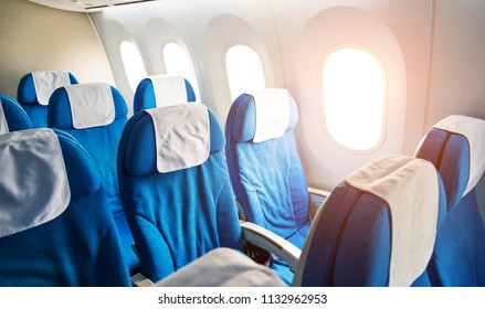 Empty airplane seats in the cabin economy class.