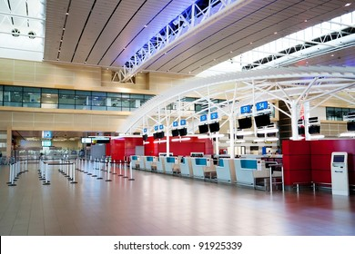 empty airport check in counter