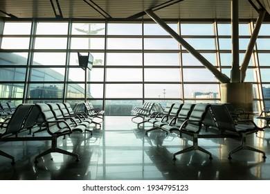 empty airport terminal, lockdown concept