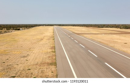 Empty airstrip in the north of Botswana