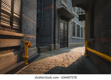 The empty alleyways of Xintiandi in the French Concession area of Shanghai, China