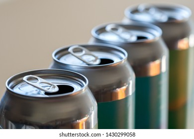 Empty aluminium beer drinks cans closeup recycling