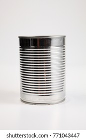 Empty aluminum can for recycling over white background