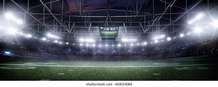 empty american football stadium 3D in light rays at night render