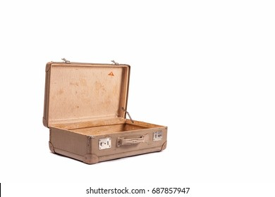 Empty antique suitcase open