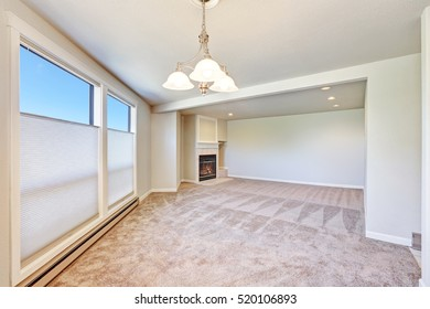 Empty apartment interior with freshly painted walls and new carpet floor. Northwest, USA