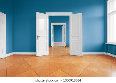 empty apartment room with blue walls