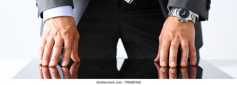 Empty arms of man in suit and tie closeup. White collar, banker time, watch, wristwatch, patience, make decision, strong control, head of the board council concept. Letterbox view