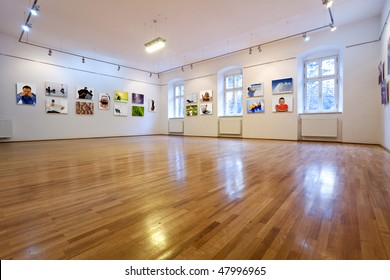 Empty art gallery view with pictures - all images from my portfolio