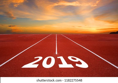 Empty asphalt road and New year 2019 concept. Driving on an empty road to Goals 2019