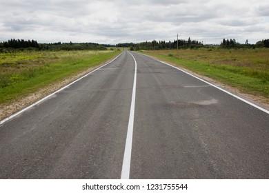 Empty asphalt road perspective