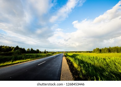 An empty asphalt road through the green agricultural fields with a forest in the background on a sunny summer day, a view from the car's window, Latvia