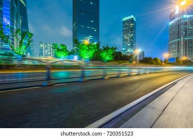 Empty asphalt road through modern city in Shanghai,China.