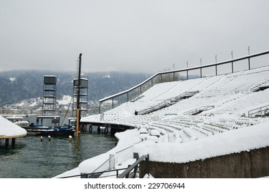An empty auditorium of the open-air theater is covered with snow on the winter lake Constance in the Austrian city Bregenz.