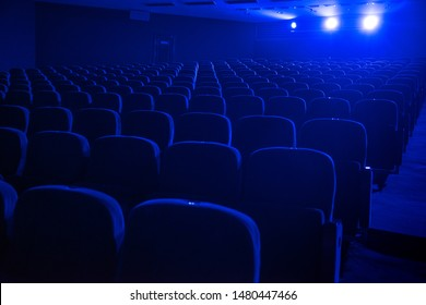 empty auditorium with seats before the start of the performance