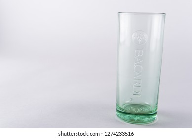empty Bacardi glass, white background. close up. Bacardi logo. Zeewolde - Flevoland - Netherlands - 4 Jan 2019.