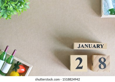 Empty Background, Design with number cube strawberry pine apple and wine in natural concept, january 28.
