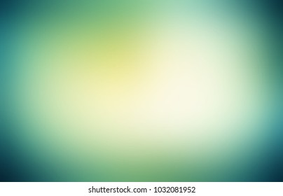 Empty background green glare. Soft vignette. Abstract texture mystery. Blurred pattern nature. Defocus template.